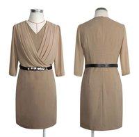 Women Elegant Summer Knee Length Dress skirt Suits Uniform Work Wear Khaki