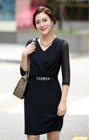 Women Elegant Summer Knee Length Dress skirt Suits Uniform Work Wear Black
