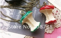 Red/Green Hot sale Vintage Fruit Apple core Pendant necklace,Fashion jewelry,Sweater chain