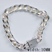 H089 wholesale new fashion 925 silver link chain men's bracelet jewelry