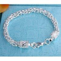 H096 wholesale fashion silver men's bracelet jewelry free shipping