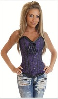 Deep bule flash and fashion overbust corset + - AB980