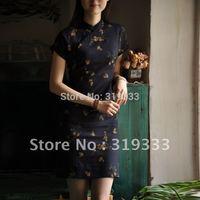 hot qipao dress vintage fluid short design linen cheongsam dark blue, five size, CPAM
