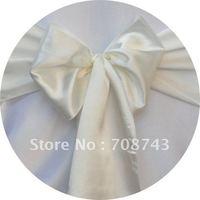 Free shipping -    top quality  ivory chair cover sash /satin sash