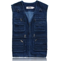 Plus Size Casual 100% Cotton Mens Blue Jean Vest Jackets Man Denim Sleeveless Coat , Many Pockets Photographer Fishing Outerwear