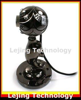 free shipping webcam,usb webcam,web camera,web cam,pc webcam,digital,night vision,6 led driver free dolphin-shape, mic wholesale