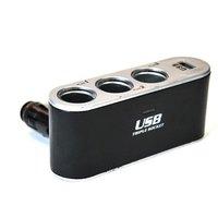USB& triple sockets USB charger LED& 3 sockets for car