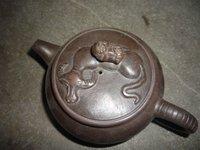 Old Chinese Handcraft Enameled  YiXing Zisha  (red stoneware) Teapot 2, porous,with mark,Free shipping