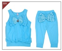 5sets/lot 2012 fashion girl's summer big bowtie vest+short pants 2pieces clothing set