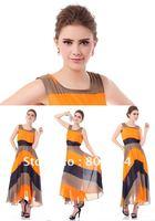 New Lady Women's Summer Wear Round Collar Nipped-Waist Strip Longuette Dress