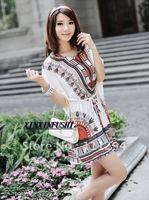Free Shipping HOT New Fashion Dress Ethnic Bat Sleeves Dress 0174