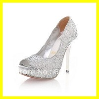 Free Ship 2012 Hot Glittle Sequin Women Bridal Wedding Shoes 10CM Fish Mouth Silver High Heel Platform Pump Shoes