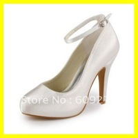 Top Quality 2012 Hot Satin Strappy Women Bridal Wedding Shoes 10CM Round Toe Ivory Pumps Platform High Heels 19036