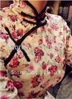 Hot velvet cheongsam wrist-length sleeve handmade plate buttons short qipao pear,only one size, CPAM