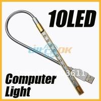 New 2 pcs USB 10 LED Bright Light Lamp for laptop desktop computer PC portable silver&golden 360 degree rotating free shipping