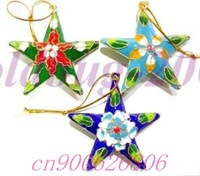 Free shipping! 10 PCS A CHRISTMAS ORNAMENT LOVELY CLOISONNE STARS CHRISTMAS Gift
