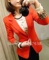 Best Selling!Modern woman&#39;s jacket,Separates with leopard sleeve outerwear+free shipping  Retail&amp;Wholesale