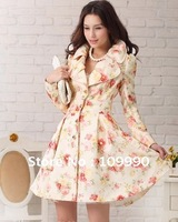 Big skirt roses sweet dignified Jacket elegant women coat long lady overcoat now fashion train good quality free shipping