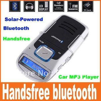 Solar Powered Bluetooth Car Kit Handsfree FM+MP3 Player Free Shipping
