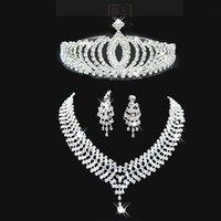 A009-3 Crown Tiara Neckace earrings set Elegant Rhinestone Crystal     O-Q-TZ018-29