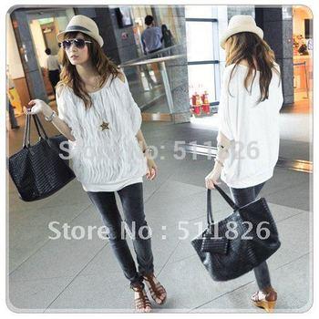 2012 New Women Off Shoulder Wave Batwing Tops Fashion long T-shirt 2 Colors free shipping