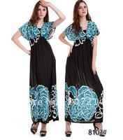 New Lady Women's Summer Wear Double V-Open Nipped-Waist Longuette Dress