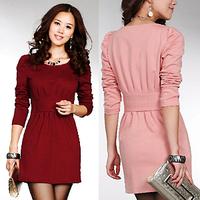 Free shipping,New arrivel 2013, Women's ruffle dress, Slim puff sleeve ol elegant slim hip dress, long sleeve dress