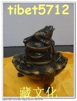 tibetan nepal Buddhist bronze Toad frog with money censer burner Incense Holder  free shipping
