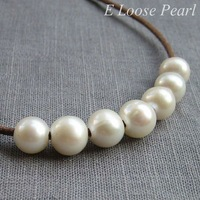 Freshwater Pearls White Nugget Large Hole Pearl 8.5-9.5mm 10 Pieces Round Potato Pearl 2mm Hole