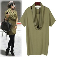 TOP QUALITY CELEBRITY T-SHIRT WOMEN LONG TEE GREEN ONE SIZE WITH SCARF 2012 FASHION CLOTHING #Bc6016
