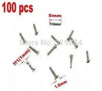 Free shipping  100pcs Screw M1x5mm M1 Steel Micro Screws Mini Silver