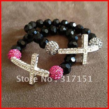 hot sale sideways cross shamballa bracelets rosary chain jesus handmade bracelets couple bracelets 12pcs/lot-free shipping