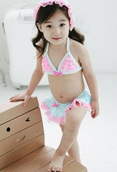 little girl  cute bikinis blue Pink lace ruffles 3pieces/set Swimwear w/ swim cap swimsuits chirdren kids pool beach wear