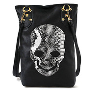 Hot Sale Fashion Ladies'  Casual Skull Head Black PU Punk Woman Shoulder Bag # L09006