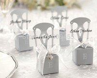 "On Sales!!!""""""Miniature Silver Chair Favor Box w/ Heart Charm & Ribbon +100pcs/lot +Free Shipping"