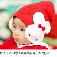 Lovely small rabbit shape hat children ear protectors on both sides of the hat baby hat baby double rabbit hat EY042