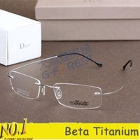 Lightest rimless non-screw 8g beta titanium eyeglasses frame Brand pure titan spectacles frame with original case Free shipping