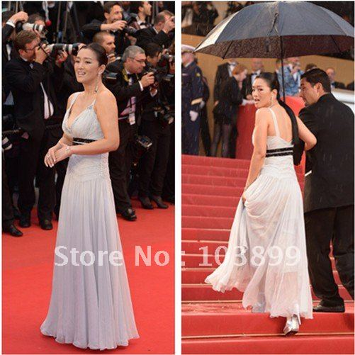 The 65th Cannes Film Festival Closing Red Carpet Gong Lee White Chiffon Dress(China (Mainland))