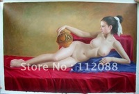 FREE SHIPPING!100% handmade high quality realism  sex girl nude women oil painting on canvas,oil painting wholesale and retail