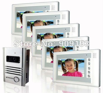 "The latest style / Free shipping  7"" wired high brand intercom systerm / colour video doorbell 1 by 5"