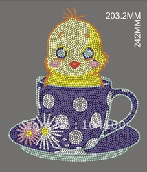Cute Heat Rhinestone Motifs With Cups Design,Free Shipping and Ideal For T-shirt.(China (Mainland))