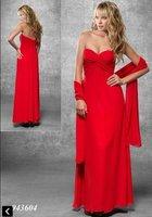 Free Shipping!red sweet necline full-length pleated empire custom-made 2013 chiffon long dress