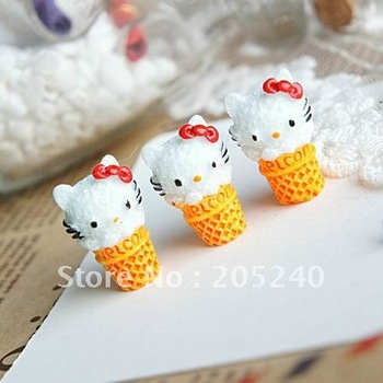 flat back resin hello kitty  cone 20pcs