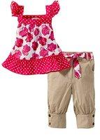 Girls rose vest leisure baby suit