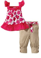 Girls rose vest leisure baby suit