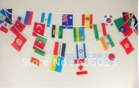 40pcs/lot  32 of the national flag flag  String of flag  bar cafe restaurant cheer fans 14*21