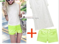 2012 new fashion women clothing suits solid white color lace sleeveless blouse and florescent light shorts