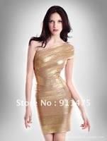 Top Quality golden ONE-SHOULDER Bandage Dress free shipping retails and wholesales