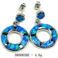 Earrings hoop Fire opal earrings 925 silver jewerly Free shipping DR00656E Free Shipping