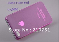 0.5mm Ultra Thin Snap-On Hard Transperant Case Cover For iPhone 4 4S EMS Free Shipping